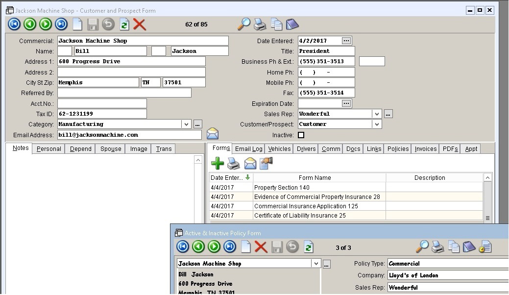 ACORD Forms Sample Client & Policy Screen