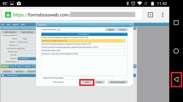 Forms Boss Web Android Menu