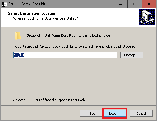 Forms Boss Setup Dialog Choose Application Folder