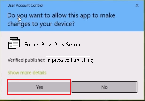 Forms Boss Setup User Account Control Warning