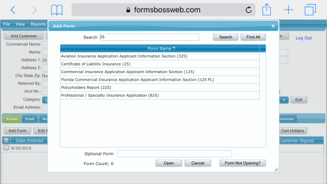 Forms Boss Web Add Form