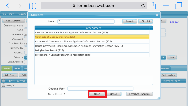 Forms Boss Web Open Form