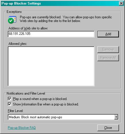 Internet Explorer Pop-up Blocker Settings